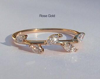 Rose Gold Diamond Leaf Ring ~ Rose, Yellow or White Gold