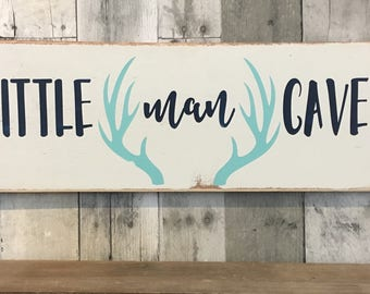 Little man cave wooden sign, Woodland nursery decor, rustic nursery decor