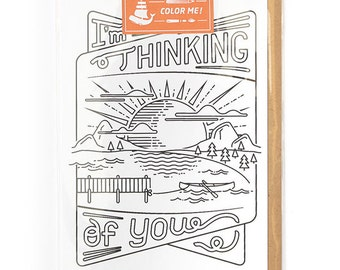 Adult Coloring, Thinking of You Greeting Card, Encouragement Card, Modern Card for Him or For Her