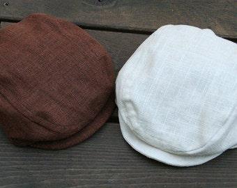 Boys Brown Linen Newsboy Hat, White Newsboy Hat, Newborn Photo Prop, Toddler Newsboy Hat, Ring Bearer Outfit, Boys Flat Hat, Boys Golf Hat,