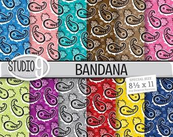 BANDANA Digital Paper: Bandana Printable Pattern Print, Bandana Download, Bandana Backgrounds Bandana Scrapbook