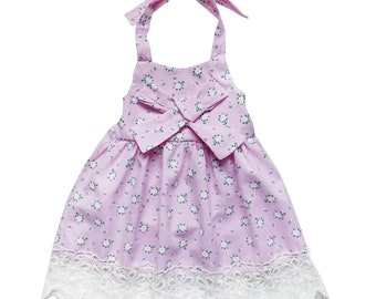 Vintage Floral Pink & Lace Halter Style Dress - Toddler Girls Cotton Spring Summer Beach Vacation Pictures, Church, Birthday Party Outfit