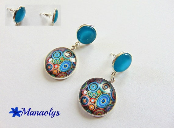 Earrings Stud, double cabochons, round multicolored 2858