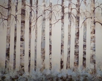 modern abstract acrylic painting trees