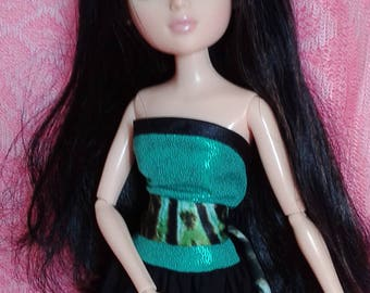 "HandMade Moxie Teenz Clothes, Doll Dress "" Black-green"", for doll 14"""