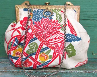 Antique 1910s Purse Frame REDONE in Chinese Silk Textile - Vintage Upcycled Evening Bag