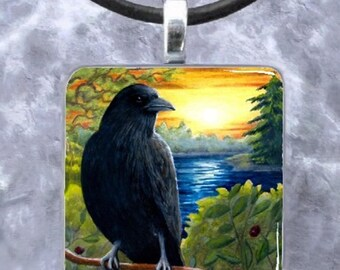 Bird 63 or 63-2 Crow Raven Sunset Art Glass Pendant or Earrings from painting by L.Dumas