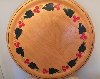 Vintage Large Wood Tray Platter-Hand Painted-Leaves and Berries