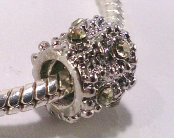 2 European beads to stop in silver and clear yellow rhinestones (59 (B)