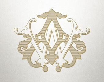Wedding Invitation Monogram - AW WA - Invitation Monogram - Vintage