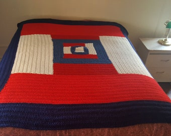 Full Size Red, White and Blue Crochet Blanket- Single Layered