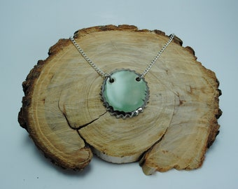 Handcrafted Ceramic Necklace   Bottle Cap Circle in Celedon with Real Silver Accents