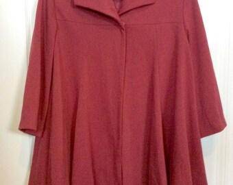 Midcentury Modern Red Swing Coat Sz L Sz 14