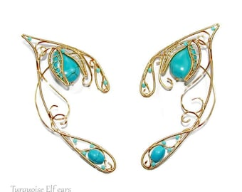Turquoise elven ears for Elf cosplay, blue ear jewelry for elf costume, Turquoise elf ears, fantasy jewelry with gemstones, elvish jewelry