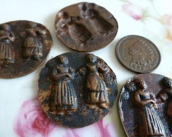 1 Darkened Brass Ladies Medallion, 1900s, C2