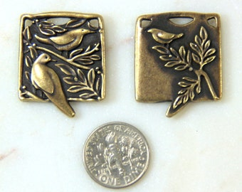 TierraCast Botoanical Birds Pendant, Focal Pendant, Double Sided Pendant Charms, Antiqued Brass, 2 Pieces, 2327