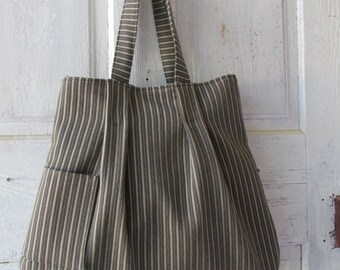 Shoulder bag Tote Hand bag hand made large canvas striped shopping bag
