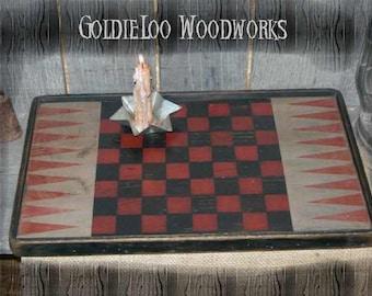 9 Point Early Style Checkerboard, Game Board,Primitive, Folk Art, Wall Art