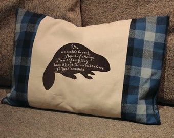 Beaver Pillow with plaid Canadian flag panels