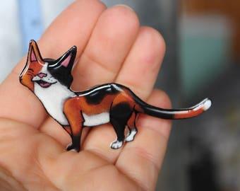 Calico Cat Magnet: great gift for cat lover for locker fridge or car