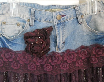 Violette jean skirt  exquisite vintage purple lace Renaissance Denim Couture romantic bohemian ballroom lavender faerie Made to Order