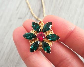 Anastasia necklace, Together In Paris Necklace, Miniature Anastasia cosplay, Once Upon a Dicember, Romanov, flower, Swarovski EMERALD green