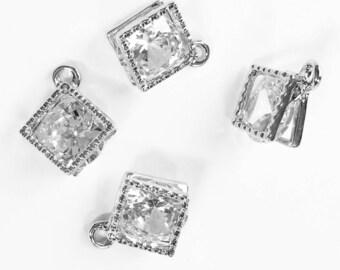 Bulk 20 pcs of Cubic Zirconia  platinum color charm 14x11mm, diamond square shape