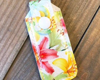 Lip Balm Holder, Lip Balm Keychain, Lip Balm Cozy, Chapstick Holder---Lilies, Flowers