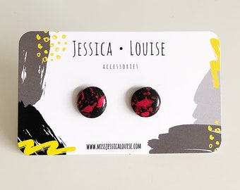 Black and Hot Pink Paint Spattered Clay Studs / Black and Hot Pink Studs / Handmade Earrings / Resin Paint Spatter Studs