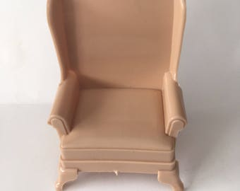Marx Dollhouse Furniture Marxie Mansion Miniature Beige Highback Chair 1:16
