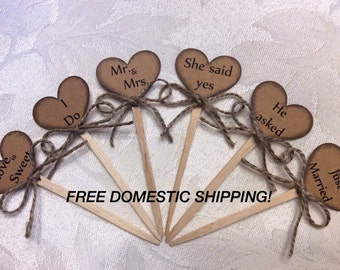 Rustic Wedding Cupcake Toppers, Heart (6 pieces)