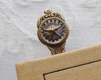Bookmark, Antique Button, Starfish, Tin Button, Slight Pink-Lavender Tint, Antique Brass