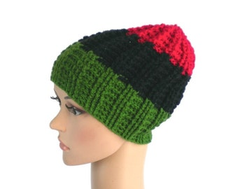 Rasta beanie with Pan-African movement colors, African crown, rastafari hat