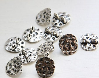12pcs Oxidized Silver Tone Base Metal Textured Spacers-16x15x6mm (E-375)