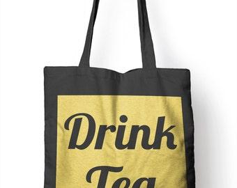 Drink Tea Funny Mug Tote Bag For Life Shopper Geek Shopping E57
