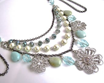 Flower Statement Necklace, Bib Necklace, Multi Strand Necklace, Crystal Amazonite Necklace, Gemstone Necklace, Mixed Metal Jewelry, OOAK