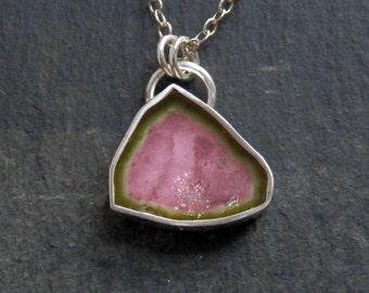 Tourmaline necklace / watermelon tourmaline / bi color tourmaline / raw tourmaline / tourmaline slice / tourmaline crystal / gift for her