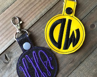 Personalized Monogram Keychain, Personalized Monogram Zipper Pull, Initial keychain, Initial Zipper Pull ---70 Colors