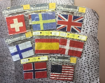 Vintage small Flags of the Nations from Denmark (1950's)