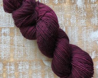 Sock Weight Superwash Merino Wool, Indie Dyed, Single ply, Sock yarn, Burgundy, Hand dyed yarn
