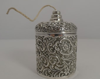 Antique English Sterling Silver String or Twine Box - 1900