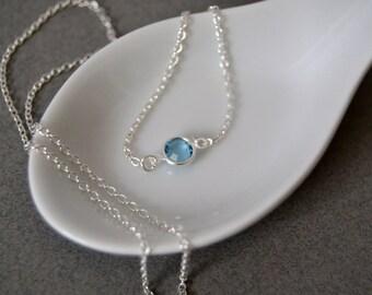 Choker Necklace Tiny Birthstone Choker Birthstone Necklace Sterling Choker Necklace Faceted Crystal Simple Necklace Dainty Choker