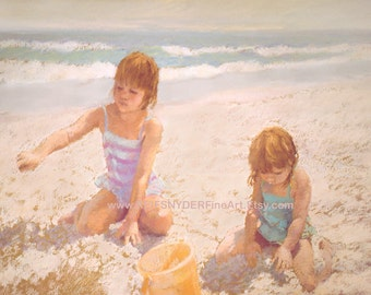 Beach scene print two girls 8x10 at the beach, yellow, pink, blue, shore, ocean, seashore, digging, playing in sand, buckets, sisters, art