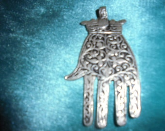 Moroccan Jewelry, old fine silver Chaouen style northern Morocco hamsa, 2 3/4 inches long