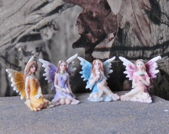"""Pastel Sitting Fairies with Flowers  - assorted styles - assorted colors - 1.75"""" (4.4 cm) - 1 pc - #56043MDI"""