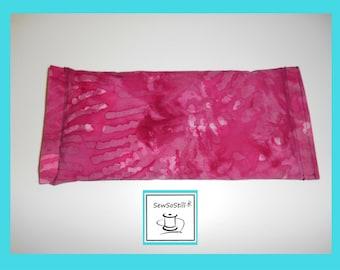 Flax Seed Eye Pillow, Lavender Eye Pillow, Yoga Eye Pillow, Eye Compress, Serenity, Raspberry Flower Batik, Savasana Eye Pillows