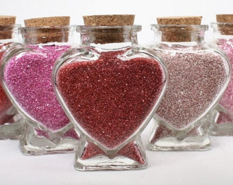 Heart Jars - Set of 8 - Reds and Pink - 16+oz Glitter - J-1003 Great for Kids Crafts/Wedding Confetti/Fairy Garden/Pixie Dust/Potion Making