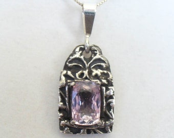 Natural Kunzite Pendant - Genuine Pink Gemstone in Unique Handmade Solid Silver Setting