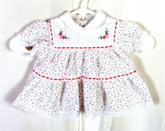 vtg Cradle Togs adorable Tiny Floral Embroidered Dress Lace Baby Toddler 6 Mos.