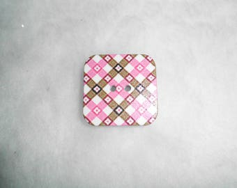 button shape wood square 3cm